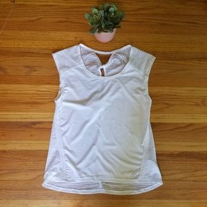 Calia White Mesh back Cap Sleeve Workout Top - S